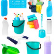 Set of cleaning tools and products on white - Stock Photo