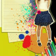 Stock Photo: Girl with fashion skirt.Grunge illustration with papers backgrou