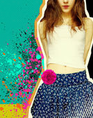 Sweet girl with fashion clothes.Grunge background for text — Stock Photo