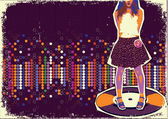 Modern fashion girl on music record.Colorful dotted background o — Stock Vector