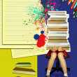 Teenage girl sitting with many books on grunge abstract backgrou — Stock Photo