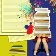 Teenage girl sitting with many books on grunge abstract backgrou — 图库照片