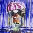 Sad little girl with ragged umbrella under rainfall.Watercolor i - Photo