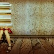 Stock Photo: Girl with books sitting on wood floor in old dark room.Grunge ba