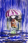 Sad little girl with ragged umbrella under rainfall.Watercolor i — Stock Photo