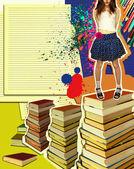 漂亮的姑娘站在 books.grunge 背景 — 图库照片