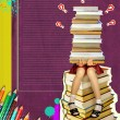 Teenage schoolgirl sitting on many books on grunge abstract back — Stock Photo