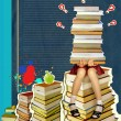 Stock Photo: Teenage sitting on many books on grunge abstract background