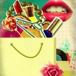 Shopping bag on retro poster.Pop art background illustration — Stock Photo #10939282