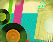 Retro music poster.Pop art background with music records — Stock Photo