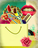 Shopping bag on retro poster.Pop art background illustration — Stock Photo