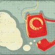 Retro telephone.Vector grunge poster background for text — Stock Vector
