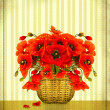 bouquet of red poppy flowers in basket on vintage card backgroun — Stock Photo