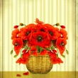 Bouquet of red poppy flowers in basket on vintage card backgroun - Stock Photo