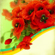 Poppy flowers on retro paper texture.Card for text - Stock Photo