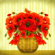 Bouquet of red poppy flowers in basket on vintage card - Stock Photo