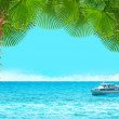 Tropical collage with cruise ship.Seascape background with palms — Stock Photo