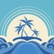Abstract sea waves. Vector illustration of tropical palms on isl — Stock Vector #11985884