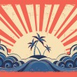 Paradise island on grunge paper background with sun — Stock Vector
