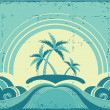 Vintage seascape with tropical palms on island.Grunge image — Stock Vector