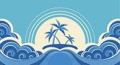 抽象的海浪。矢量插画的热带棕榈树上 isl — 图库矢量图片