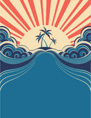 Tropical background with palms and sunshine.Vector illustration — 图库矢量图片