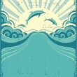 Grunge nature poster background with dolphins in sea and sunshin - Stock Vector