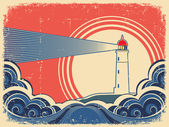 Lighthouse with blue sea.Grunge background — Stock Vector