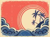 Tropischen insel mit palms.vector grunge illustration auf alten pap — Stockvektor