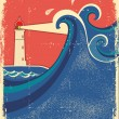 Wektor stockowy : Lighthouse and sea waves.Vector grunge background