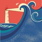 latarnia morska i morze ilustracja waves.vector — Wektor stockowy