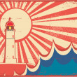 Wektor stockowy : Seascape horizon. Vector illustration with lighthouse on grunge
