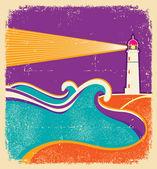 Seascape horizon. Vector illustration with lighthouse on grunge — Stock Vector