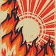 Fire background with sun.Vector grunge poster — Stock Photo