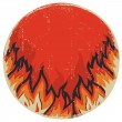 Symbol of red fire.Vector grunge symbol on white - Stock Photo
