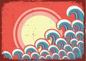 Abstracte zeegezicht image.vector grunge illustratie — Stockvector