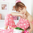 Kid girl with gift boxes — Stock Photo #11370222