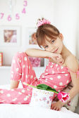 Kid girl with gift boxes — Stok fotoğraf