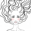Royalty-Free Stock Vector Image: Beauty girl face. Hand-drawn fashion model