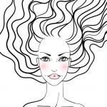 Beauty girl face. Hand-drawn fashion model — Stock Vector