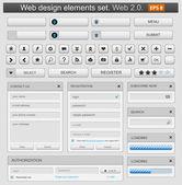 Web design elemets impostare bianco — Vettoriale Stock