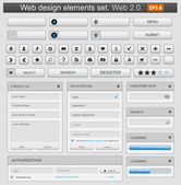 Web design elemets set white — Vettoriale Stock