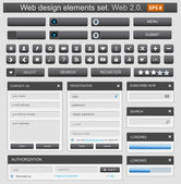 Web design elemets set nero — Vettoriale Stock