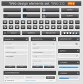 Web design elemets set nero — Vettoriale Stock
