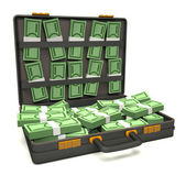 Black briefcase of money — Stock Photo
