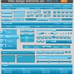 conjunto de elementos web azul diseño — Vector de stock