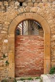 Old arched door blocked by brick wall — Stock Photo