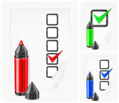 Markers with check marks on paper — Stock Vector