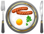 Fried eggs and sausage on plate — Stock Vector
