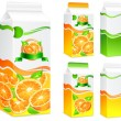 Packages for orange juice — Stock Vector